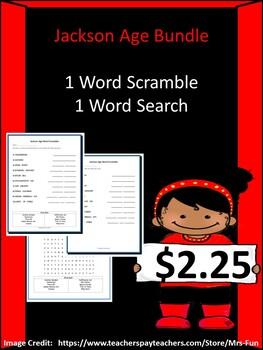 The Jackson Age Bundle- 1 Word Scramble & 1 Word Search