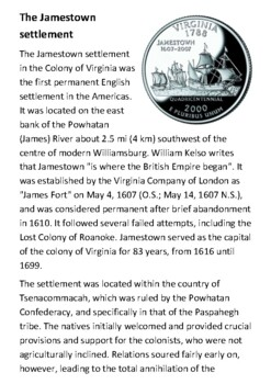 The Jamestown Settlement Handout