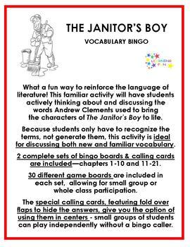The Janitor's Boy Vocabulary Bingo