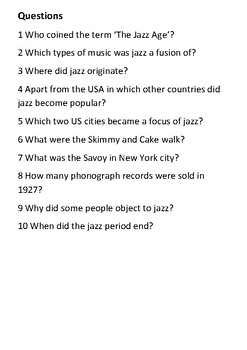The Jazz Age Handout