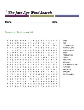 The Jazz Age Word Search