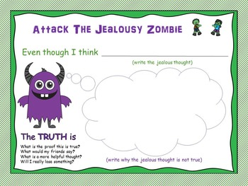Attack The Jealousy Zombie (CBT) Activities and Worksheets for Friendship Groups