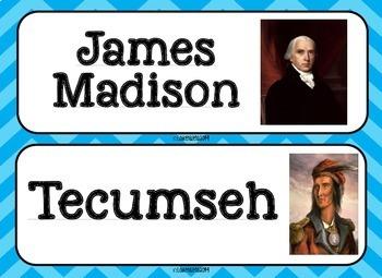 Thomas Jefferson, James Madison, War of 1812 Word Wall