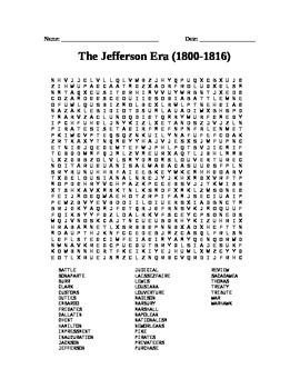 Presidents: The Jefferson Era word search