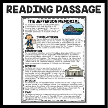 The Jefferson Memorial Reading Comprehension; American Landmark; Washington DC