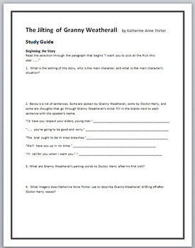 the jilting of granny weatherall point of view