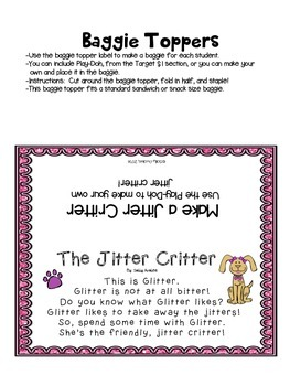 First Day Jitters, Jitter Critter Back to School Poem, Beginning of School