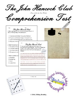 The John Hancock Club by Louise Borden Comprehension Test with Answer Key!