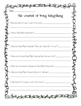 The Journal of Wong Ming-Chung Comprehension Questions
