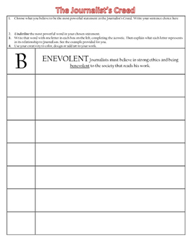 The Journalist's Creed - Acrostic Graphic Organizer