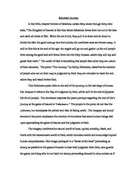 The Journey by Emily Dickinson College Level Essay