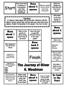 """""""The Journey of Oliver K. Woodman"""" Comprehension Game Board"""