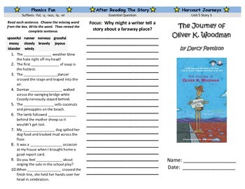 The Journey of Oliver K. Woodman Trifold: Journeys Grade 3 Unit 5 Lesson 3