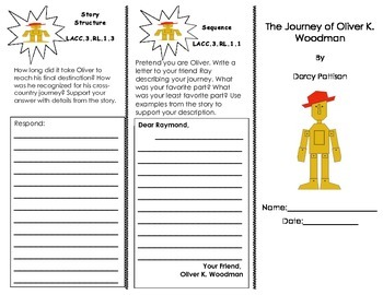 The Journey of Oliver K. Woodman trifold/ Journeys HMH 3rd grade