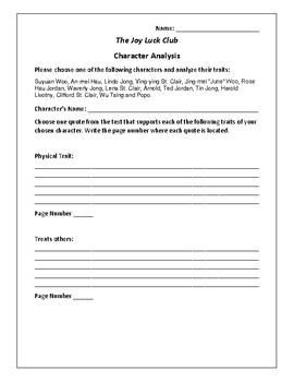 The Joy Luck Club - Character Analysis Activity - Amy Tan
