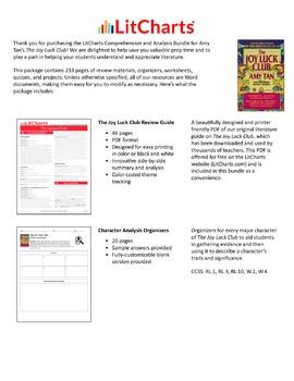 The Joy Luck Club – Comprehension and Analysis Bundle