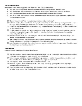 The Joy Luck Club Multiple Choice Quiz Parts II and III