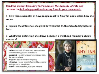 The Joy Luck Club Part One Study Guide with Non-Fiction Essays