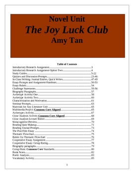 the joy luck club unit plan pages of activities and handouts