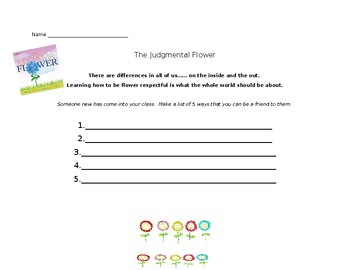 The Judgmental Flower Extension Activity