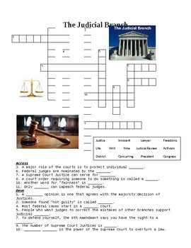 US Government: The Judicial Branch Crossword Puzzle or Web Quest