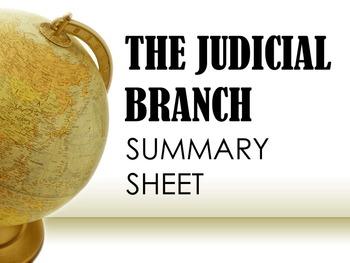 The Judicial Branch Summary Sheet