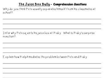 The Juice Box Bully by Bob Sornson and Maria Dismondy:  A  Literature Study!
