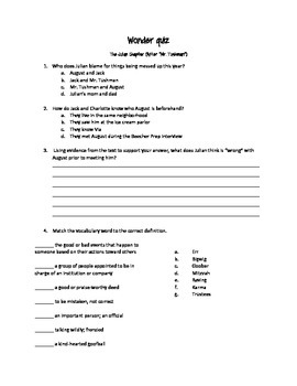 The Julian Chapter by RJ Palacio quiz and prompt set
