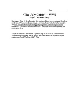 The July Crisis - Supplemental Documents