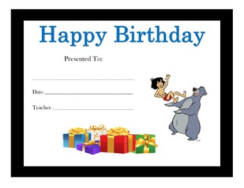 The Jungle Book Birthday Certificates (Includes 5 Certificates)