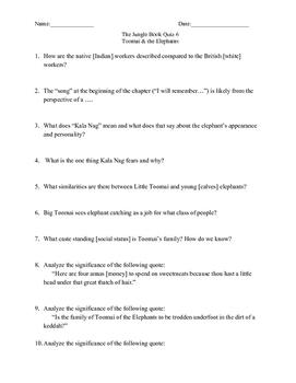 The Jungle Book by Rudyard Kipling Quiz Pack