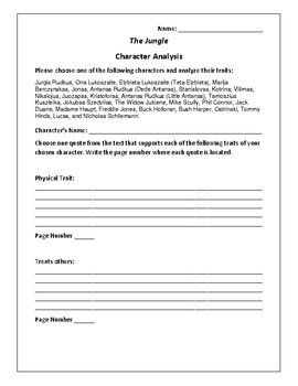 The Jungle - Character Analysis Activity - Upton Sinclair