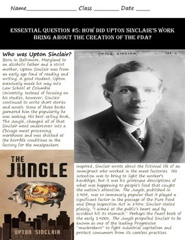 The Jungle & Upton Sinclair: A Common Core & Research Based History Lesson