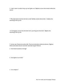 The Junkyard Wonders by Patricia Polacco - Figurative Language Worksheet