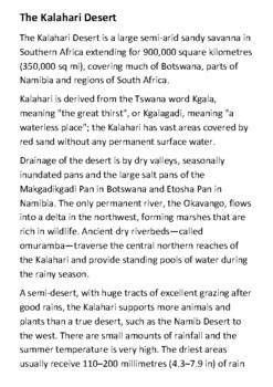 The Kalahari Desert Handout