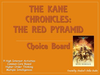 The Kane Chronicles: The Red Pyramid Choice Board Tic Tac Toe Novel Project