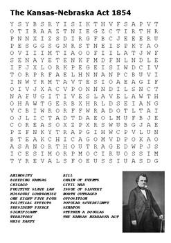 The Kansas Nebraska Act 1854 Word Search