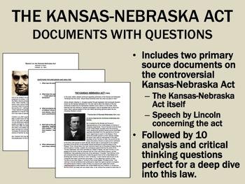 The Kansas-Nebraska Act Documents with Questions - USH/APUSH
