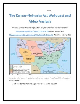 The Kansas-Nebraska Act- Webquest and Video Analysis with Key