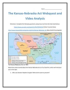The Kansas-Nebraska Act- Webquest and Video Analysis with Key