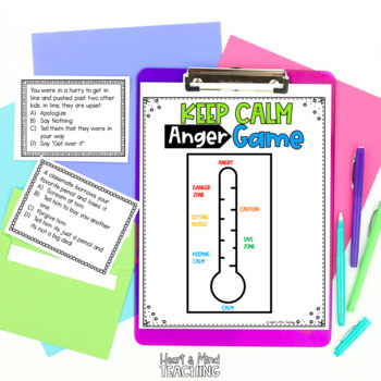 The Keep Calm Game for Anger Management; coping skills, SEL, angry, emotions