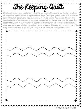 The Keeping Quilt Beginning of the Year Lesson and Reading Response Activity
