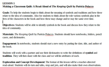 The Keeping Quilt Project- Create a Classroom Quilt