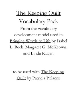 The Keeping Quilt Vocabulary Pack
