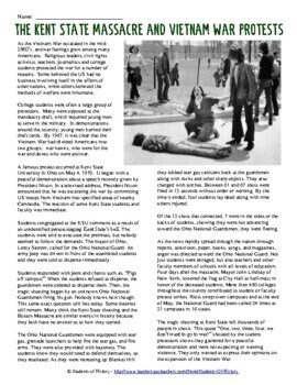 the kent state shootings story and worksheet questions by students of history. Black Bedroom Furniture Sets. Home Design Ideas