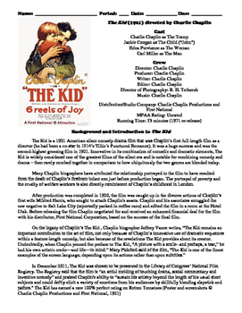 The Kid Film (1921) Study Guide Movie Packet