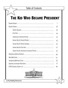 The Kid Who Became President by Dan Gutman Novel Study