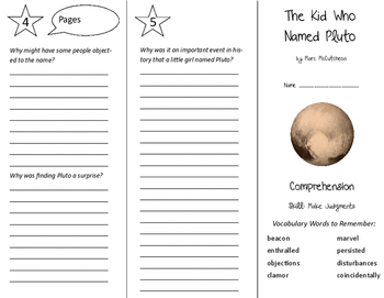 The Kid Who Named Pluto Trifold - Storytown 6th Grade Unit 4 Week 3