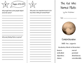 The Kid Who Named Pluto Trifold - Storytown 6th Grade Unit