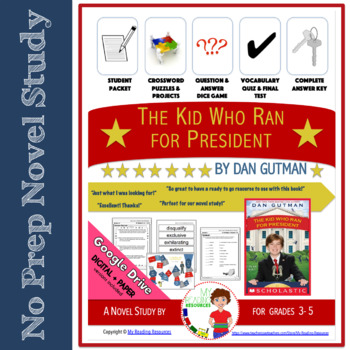 The Kid Who Ran for President By Dan Gutman Book Unit
